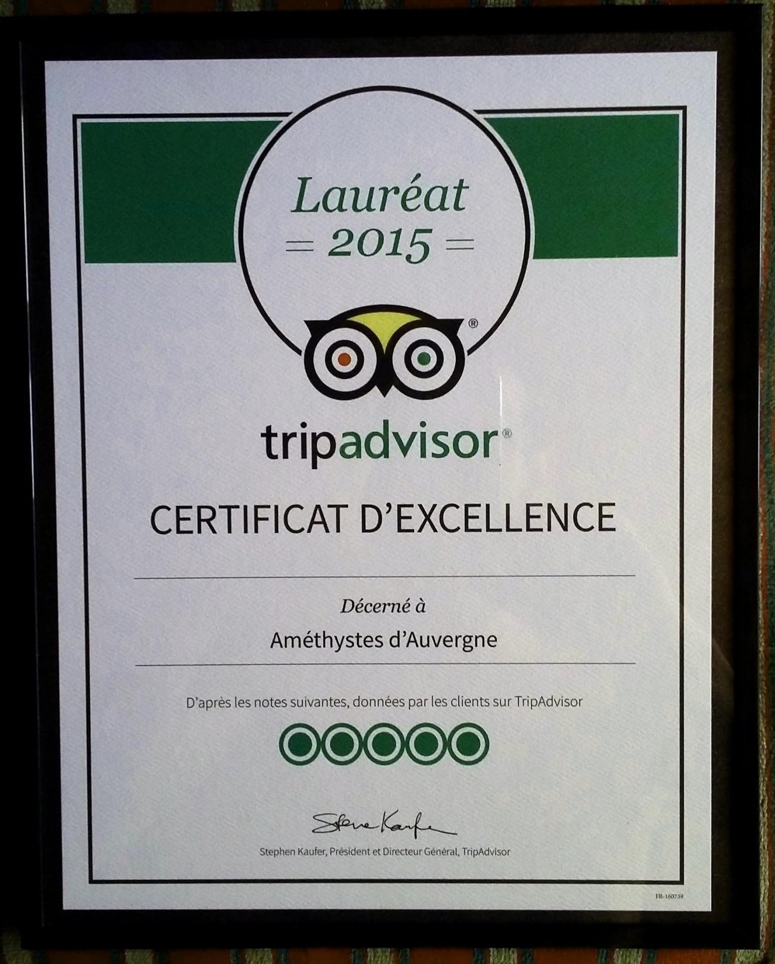 Certificat excellence tripadvisor 2015